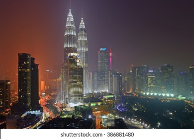 KUALA LUMPUR - AUGUST 25, 2015 - Majestic view of Petronas Twin Towers at night. Petronas Twin Towers also known as KLCC is the tallest building in Malaysia.