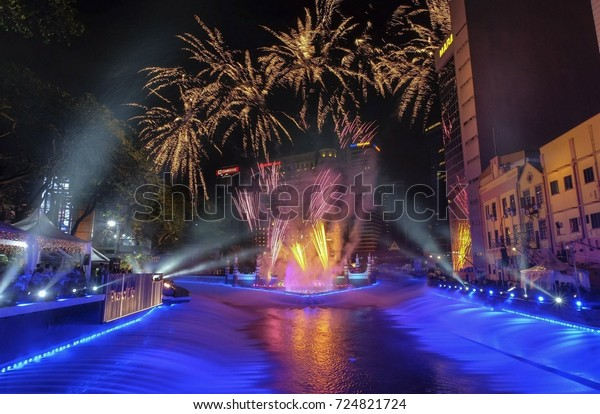 KUALA LUMPUR, AUGUST, 28 -  Fireworks at The River of Life, Blue Pool Project (2017) at Masjid Jamek (Mosque) or Masjid India on August 28, 2017, Kuala Lumpur, Malaysia.