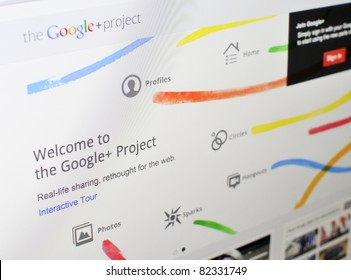 KUALA LUMPUR - AUGUST 7 : Homepage of Google+ in August 7, 2011 in Kuala Lumpur, Malaysia. Google recently launched Google+ (Google plus), newest social media network to rival facebook.com.
