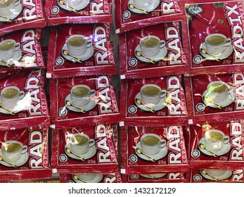 """Kuala Lumpur - Circa 2019: 3 in 1 Premixed Coffee in sachets on sale at restaurant. """"Radix Coffee"""" is a coffee that contains Eurycoma longifolia as on of the ingredients."""