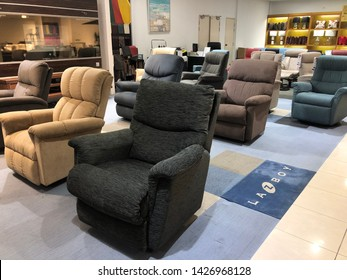Kuala Lumpur - Circa 2019: Premium sofa La-Z-Boy on sale at a shop. La-Z-Boy is a furniture manufacturer which makes upholstered recliners, sofas, stationary chairs, and sleeper sofas.