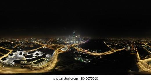 Kuala Lumpur city 360 view in panorama.Aerial view. Skyline Kuala Lumpur at night in Malaysia.