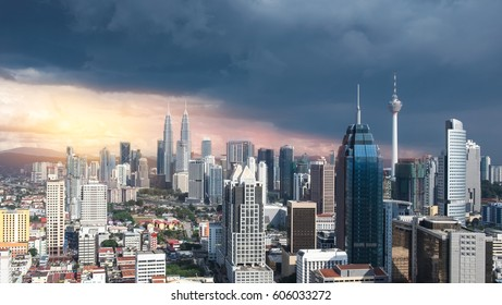 Kuala Lumpur city. An amazing and beautiful panoramic photograph of Kuala Lumpur City.  Top view on sightseeing and skyscraper. Scenic cityscape on sunset. Urban skyline. Travel Malaysia
