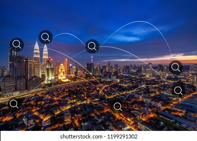 kuala lumpur city connection with futuristic line in sight