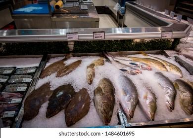 Kuala Lumpur city, Malaysia, July 7th 2019:  Sea fish are sold in supermarkets at Kuala Lumpur city, Malaysia.