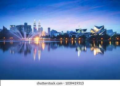 Kuala Lumpur city with reflection in water, Kuala Lumpur Malaysia