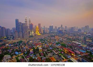 Kuala Lumpur city skyline building during sunrise