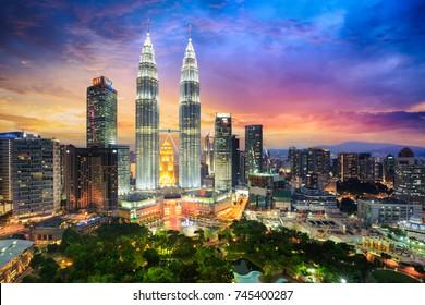 Kuala lumpur city skyline at dusk, Kuala lumpur Malaysia