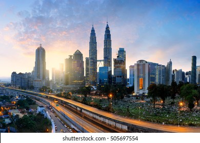 Kuala lumpur city skyline in the morning, Malaysia cityscape, Malaysia