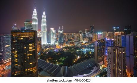 Kuala Lumpur city skyline at night. Aerial view.