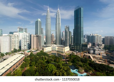 Kuala Lumpur city skyline and skyscrapers building at business district downtown in Kuala Lumpur, Malaysia. Asia.