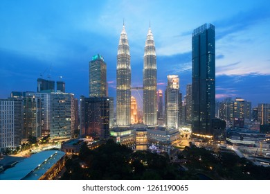 Kuala lumpur cityscape. Panoramic view of Kuala Lumpur city skyline during sunrise viewing skyscrapers building and in Malaysia.