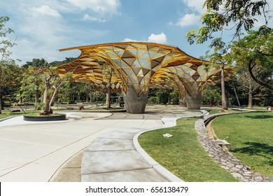 KUALA LUMPUR - DEC 10, 2015: Facade of the garden pavilion in Kuala Lumpur Perdana Botanical Gardens in Jalan Tembusu. The garden formally known as the Lake Gardens was built in 1888 by A.R.Venning.