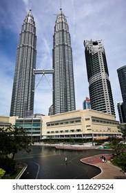 KUALA LUMPUR - DECEMBER 15: The Petronas Twin Towers are the world's tallest twin towers. The skyscraper height is 451.9m. December 15, 2010, in Kuala Lumpur, Malaysia