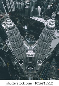 KUALA LUMPUR, FEB 2018 - Aerial view of moody Kuala Lumpur City Centre from a drone