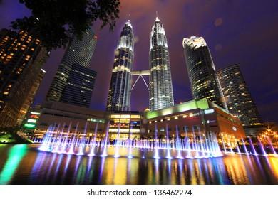 KUALA LUMPUR - Feb 24: The Petronas Twin Towers on February 24, 2013, in Kuala Lumpur, Malaysia are the world's tallest twin tower. The skyscraper height is 451.9m