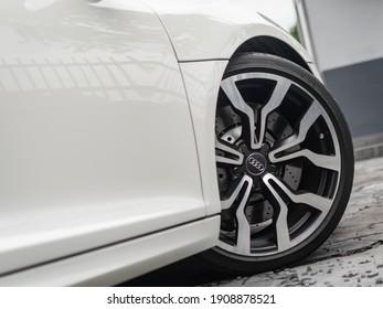 Kuala Lumpur - Feb 3 2021 - White Audi R8 with a construction backdrop.