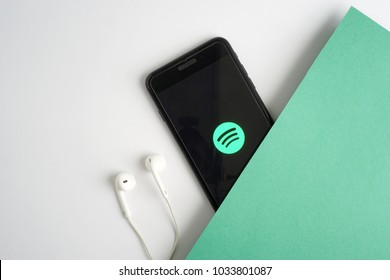 KUALA LUMPUR - FEBRUARY 27,2018: Spotify application on smartphone. Spotify is a popular commercial online music streaming service.