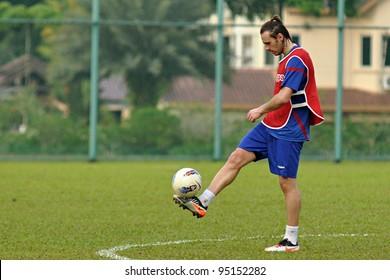 KUALA LUMPUR - FEBRUARY 4:Boško Balaban in action during training session as a team player for Selangor FA, February 4, 2012 in Kuala Lumpur, Malaysia.