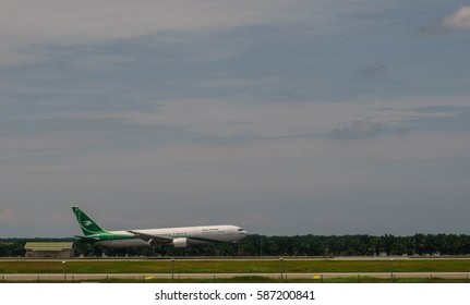 Kuala Lumpur Internal Airport, Malaysia, 25th Feb 2017, Iraq Airways aircraft about to touch down at the airport