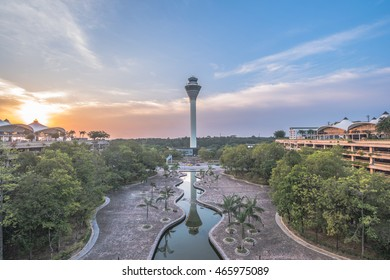Kuala Lumpur International Airport (KLIA) control tower and its park taken during sunset.