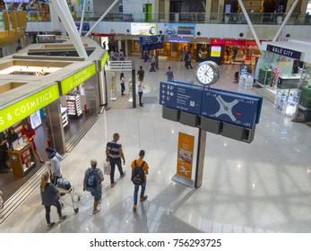 KUALA LUMPUR INTERNATIONAL AIRPORT (KLIA), SEPANG, MALAYSIA- 14 November 2017: Closeup of  Kuala Lumpur International airport interior with unidentified people, logo or brand at KLIA, Malaysia.