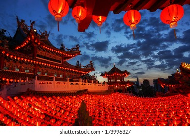 KUALA LUMPUR - JAN 30 : Night view of Thean Hou Temple on January 30, 2014 in Kuala Lumpur, Malaysia. This temple is famous during the celebration of Chinese New Year.