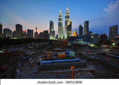 KUALA LUMPUR - JANUARY 9 : Construction site of Four Season Place, a 65 - storey building comprises of apartments and a hotel in Kuala Lumpur, Malaysia on January 9, 2014.