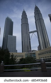 KUALA LUMPUR - JUL 08, 2017:The Petronas Twin Towers, Malaysia are the world's tallest twin tower. The skyscraper height is 451.9m.