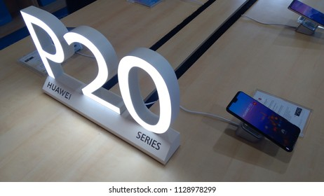 KUALA LUMPUR - July 1, 2018: A Huawei P20 smartphone at an Honor store in Plaza Low Yat. Huawei Honor is a sub brand of the worlds largest telecommunications equipment manufacturer Huawei (China).