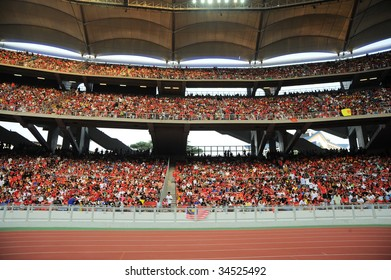 KUALA LUMPUR - JULY 18 : Fan of Manchester United team during friendly match against Malaysia at National Stadium, July 18, 2009 in Kuala Lumpur.  Manchester won 3-2.