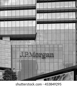 KUALA LUMPUR - JULY 7, 2016: JP Morgan company logo on the facade of their building in Jalan Tun Razak, KL. JPMorgan is an American multinational financial institution and the largest bank in the USA.