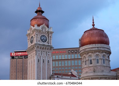 KUALA LUMPUR, Jun 13, 2017: Clock Tower of The Sultan Abdul Samad Building in Kuala Lumpur Malaysia. It is one of the top attraction in the city.