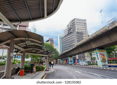 KUALA LUMPUR - JUNE 15, 2016: A view at the Pudu Sentral bus stop in the city center. It used to be KL's main bus station but most most operations have moved the TBS bus terminal.