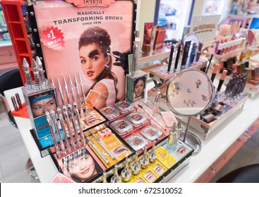 KUALA LUMPUR - JUNE 15, 2017: Benefit cosmetics in Sephora store in Bukit Bintang Street. Benefit Cosmetics LLC is a US manufacturer of cosmetics and a subsidiary of LVMH