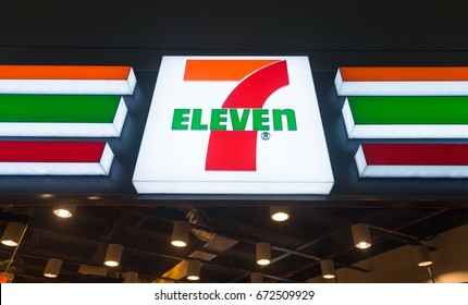 KUALA LUMPUR - JUNE 17, 2017: The signboard of 7 Eleven store at KLIA 2 airport. 7 Eleven (7 11) is an international chain of convenience stores that operates some 58300 stores in 17 countries
