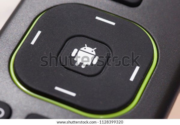 Kuala Lumpur - June 2018 : close up clean shot of an android logo stamped on a controller for tvbox