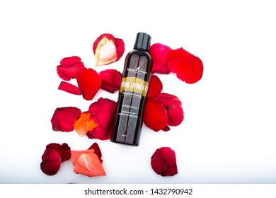 kuala lumpur June 2019 - young living v-6 vegetable oil isolated with rose petal in white background