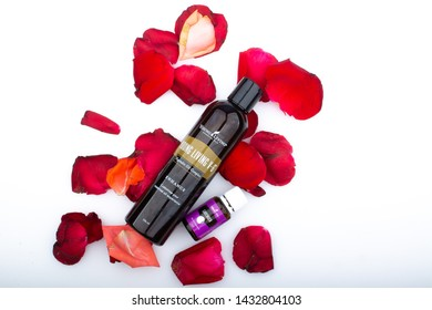 kuala lumpur June 2019 - young living v-6 vegetable oil and lavender essential oil isolated in white background