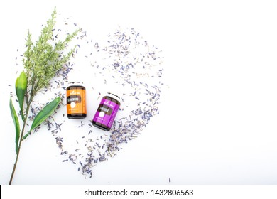kuala lumpur June 2019 - young living Lavender and Cedarwood essential oil isolated in white background