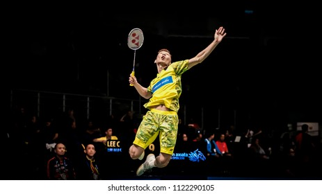 KUALA LUMPUR, JUNE 26 2018 - Malaysia men's singles, Lee Chong Wei in action during Malaysia Open Badminton Championship 2018 at the Axiata Arena in Bukit Jalil, Malaysia.