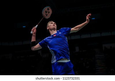 KUALA LUMPUR, JUNE 29 2018 - Denmark men's singles, Viktor Axelsen in action during Malaysia Open Badminton Championship 2018 at the Axiata Arena in Bukit Jalil, Malaysia.