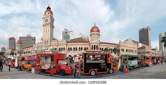 KUALA LUMPUR - JUNE 9, 2018: Food trucks at the 4th IFTAR KL event in Dataran Merdeka, Kuala Lumpur. The event is organised by Malaysian Tourism Board in the Ramadan month to showcase Muslim culture.