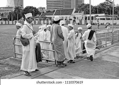 KUALA LUMPUR - JUNE 9, 2018: Muslim children at the 4th IFTAR KL event in Dataran Merdeka, KL. The event is organised by Malaysian Tourism Board in the Ramadan month to showcase Muslim culture.