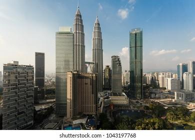Kuala Lumpur, Malaysia - 02.16.2018: Beautiful View of Petronas Twin Towers from Grand Hyatt Hotel room.