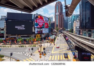 Kuala Lumpur / Malaysia - 03/03/2019: Station Monorail Outside View on the  City Transportation Traffic Hub