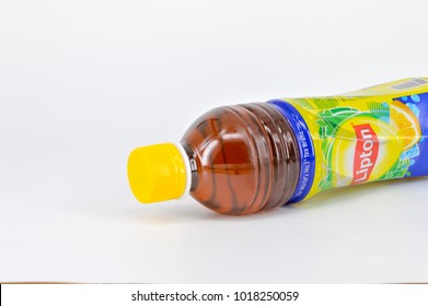 Kuala Lumpur, Malaysia- 05 February 2018; Lipton Lemon Ice Tea drink in a bottle isolated on white background. Lipton Lemon Ice Tea is a brand sold by Lipton.