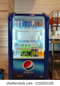 Kuala Lumpur, Malaysia, 07 June 2018, A soda drink refrigerator with soda drink arrange nicely ready to sell to customers in a grocery store