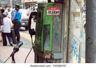 KUALA LUMPUR, MALAYSIA 07 OCTOBER 2017 - An old public phone in Petaling Street, Kuala Lumpur, Malaysia.