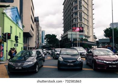 KUALA LUMPUR, MALAYSIA 07 OCTOBER 2017 - Heavy traffic somewhere in Petaling Street.